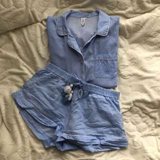 light blue summer pyjama set