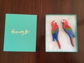 Honey B Gold Parrot Earrings