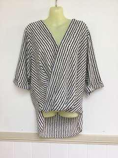 Temt Au 10 Black White Stripe Boho Chic High Low Top Blouse