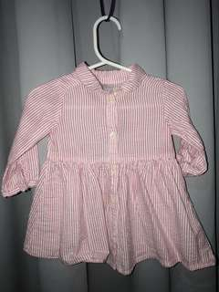 H&M Long Sleeve Pink Striped Dress