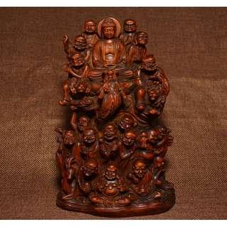 黃楊木無垢雕刻 釋迦摩尼佛 十八邏漢護法 供奉佛像