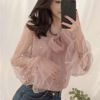 Korean Fashion Sheer Top + Innner 2pcs