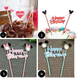 [FREE MAILING] Happy Birthday Mickey Minnie Cake Bunting / Topper