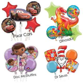 🚚 SALE ! Now - 15th Aug : Balloon Bouquet Pixar Cars/Prehistoric Dinosaur/DocMcStuffins/Dr Seuss
