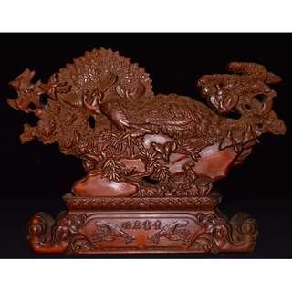 百鳥朝鳳 黃楊木雕刻 中國大陸遊玩收集