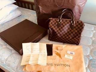 Authentic Louis Vuitton Damier Ebene Speedy 30