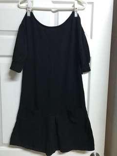 🚚 Mango黑色短袖長版上衣