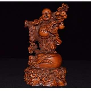 笑面佛 布袋和尚 彌勒佛 黃楊木精雕 供奉佛像 招材納福