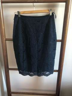 MNG Navy Lace Skirt