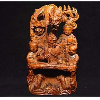 大陸友人贈送 黃楊木手雕 常勝將軍關羽像