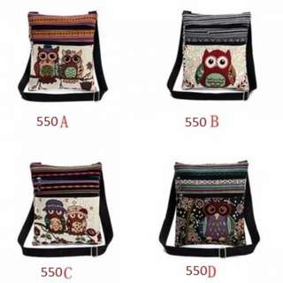 Embroidered Owl Tote Bags Women Shoulder Bag