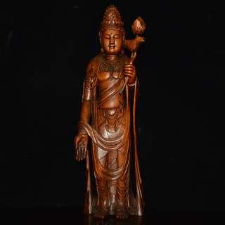 古鎮遊玩收集 大勢至菩薩像 黃楊木精雕 供養品 佛像
