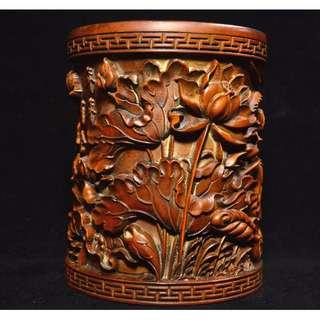 中國古書法用具 黃楊木手雕 蓮花魚 筆筒