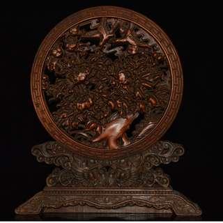 舊宅珍藏品 花開富貴 黃楊木雕刻 屏風 擺設