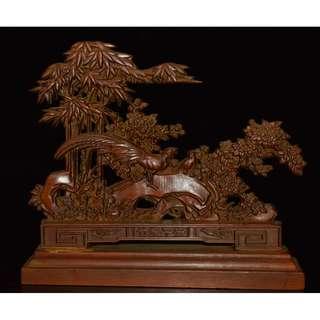 舊宅珍藏品 金玉滿堂 黃楊木精雕 竹報平安 屏風 擺設