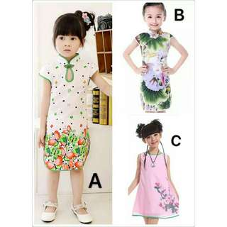 *FREE DELIVERY to WM only / Ready stock*  Kids traditional cheongsam dress each as shown design/color. Free delivery is applied for this item.