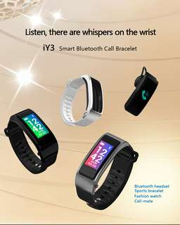 Bluetooth Headset Bracelet - 0.96inch Screen, Build in Microphone, Hands Free Phone Calls, Sedentary Reminder (Black) (CVAIA-W110)