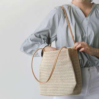 Soft Woven Straw Bucket Shoulder Bag