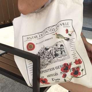 🚚 巴黎市政廳 復古棉麻帆布袋