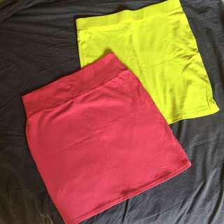 Neon & Pink Bodycon Skirts