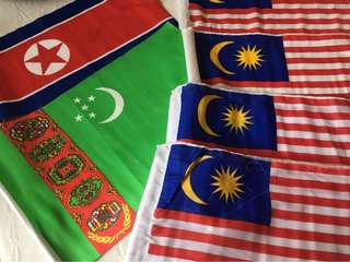 Small souvenir flag of North Korea (1),Turkmenistan (1) and Malaysia (4)