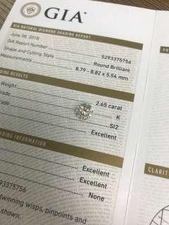 GIA 鑽石 2.65 K SI2 3EX N