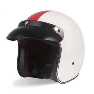 Gloss White with Red Stripe Accents Motorcycle Helmet Open Face Three Button Snap Retro Vintage Vespa Scooter Cafe Racer Motorbike Leather Gloss Old School Harley Davidson