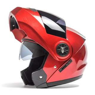 Red Full Face Flip Up Motorcycle Bike Modular Helmet with Double Inner Lens
