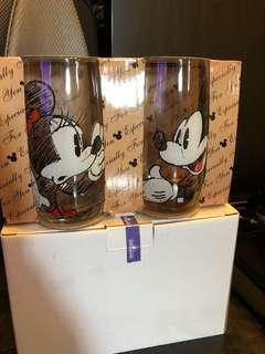Disney 米奇唐老鴨玻璃水杯一套4隻