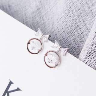 Ribbon Crystal Silver Earring