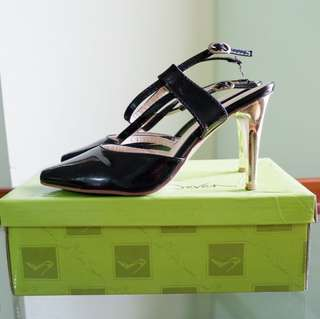 two seven black gold glossy heels