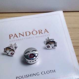 original pandora earring and charm set
