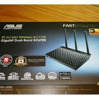 99%新3年保養 ASUS RT-AC66U B1 ac1750 無線雙頻路由器 新版B1