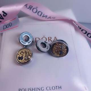 original silver pandora charm with gold