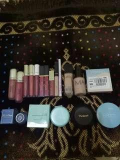 Lip cream, foundation, concealer, bedak, eyeliner, tender care