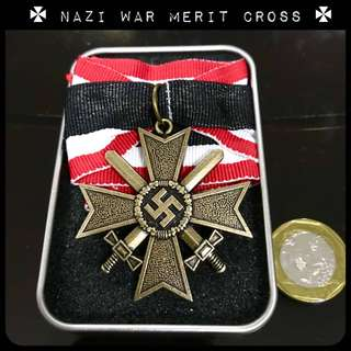 Nazi Medal Knight Cross of War Merit Wehrmacht German Army Iron Cross Decoration Ww2 World War Hitler.