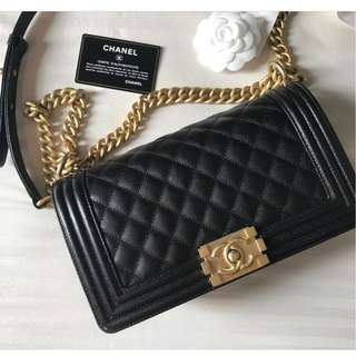 Brand New Chanel Boy Old Medium in Black Caviar with GHW