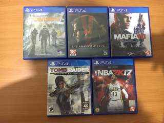 The Division, Tomb Raider, Mafia III, NBA2K17, Metal Gear