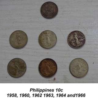 RP 10c 1958, 1960, 1962,1963, 1964, 1966