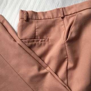 Nude Pink Highwaist Slim Fit Trousers