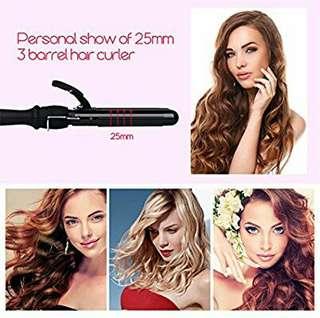 inkint Triple Barrels Curling Iron Waving Iron, Hair Waves Culer Big Crimper- Dual Voltage+ Heat Insulation Glove for Long hair (25mm)