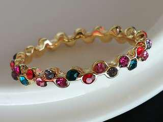 Gold platinum plated multi coloured zircon crystal ring