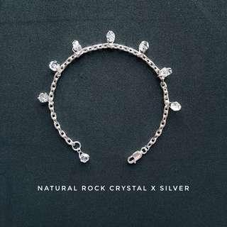💋New☆925 silver x natural rock crystal bracelet
