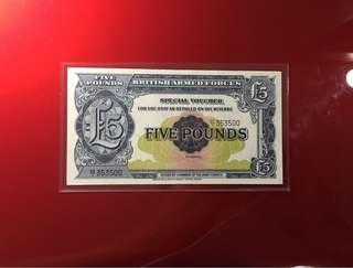 British army force voucher 2nd series five pound