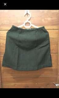 Dark green A-line office skirt