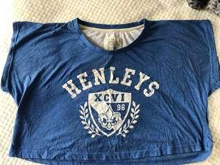 Henley's crop Top blue
