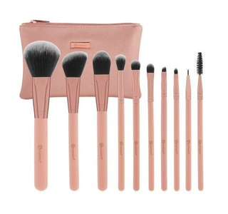 BH Cosmetics - pretty in pink 10 pc brush set with cosmetics bag