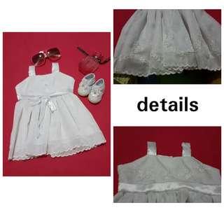 Baptismal dress (grayish white) & shoes