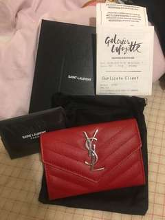 🈹️YSL Saint Laurent Envelop Wallet 銀包 全套齊 有單有盒有塵袋有卡仔