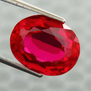 🚚 13.15 cts Pigeon Blood Red Ruby Lab created Oval 15 mm x 11.8 mm